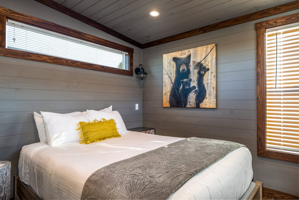 Bedroom at Tiny Home Glamping Cabin at The Ridge Outdoor Resort