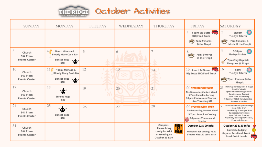 The Ridge October Event Calendar 2021